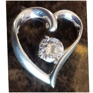 Jewelry - Sterling Silver/ CZ Heart Pendant .75""